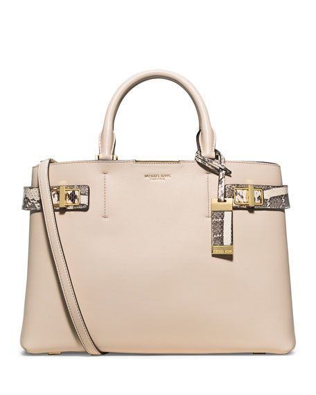 Michael Kors Collection Bette Large Satchel Bag, Vanilla