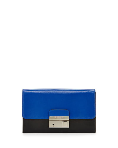 Gia Colorblock Clutch Bag, Cobalt/Black