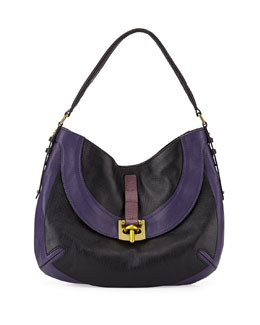 Bessie Colorblock Leather Hobo Bag, Black/Multi