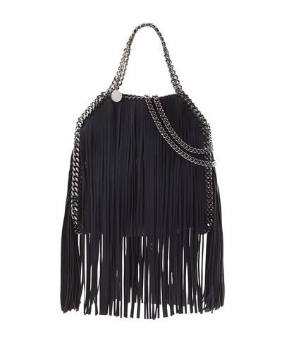 Falabella Mini Fringe Tote Bag, Light Gray