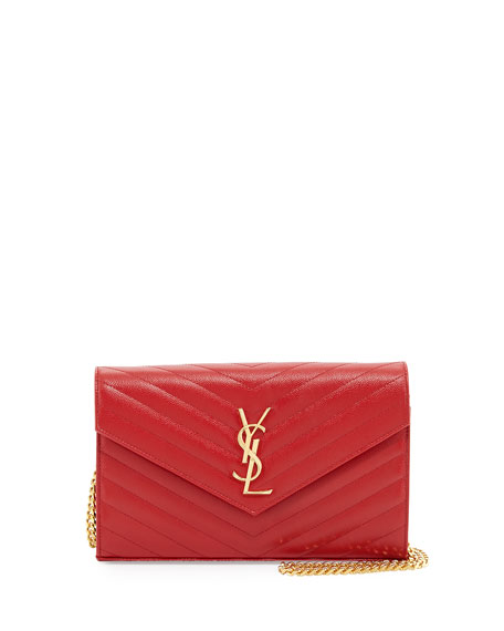 Saint Laurent Grain de Poudre Wallet-on-Chain, Lipstick