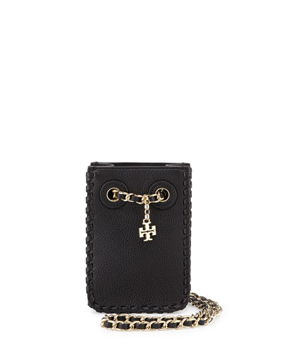 Marion Leather Smartphone Crossbody Bag, Black
