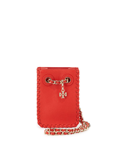 Tory Burch Marion Leather Smartphone Crossbody Bag, Red