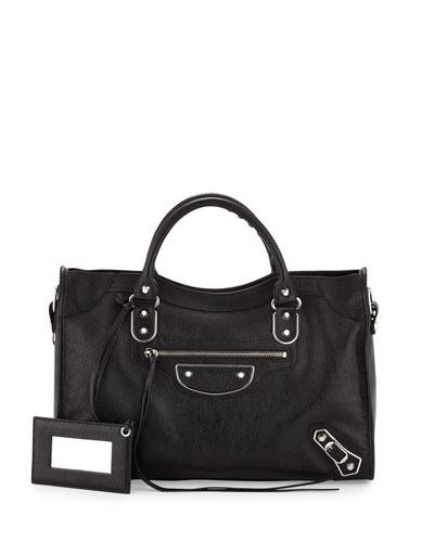 Metallic Edge City Bag, Black