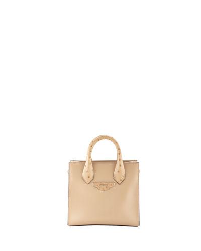 Mini All Ostrich-Trim Tote Bag, Beige
