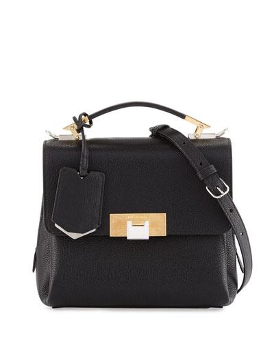 Le Dix Soft Pebbled Mini Satchel Bag, Black