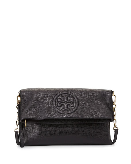 Tory BurchBombe Fold-Over Clutch Bag, Black