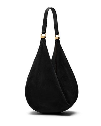 Sling 12 Suede Hobo Bag, Black