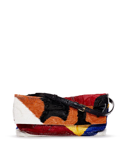 Abstract Sequined Flap Bag, Multicolor