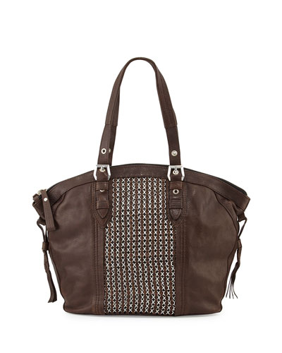 Betsy Chain Weave Tote Bag, Brown