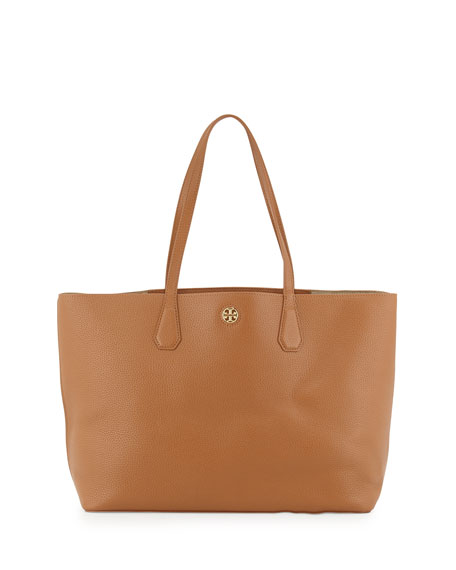 Perry Leather Tote Bag, Bark/Light Gold