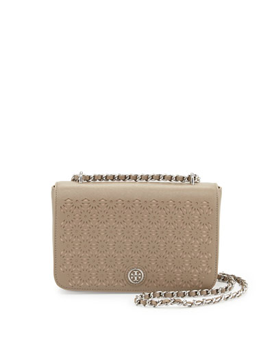 Robinson Floral Perforated Flap Bag, French Gray