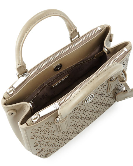 Robinson Floral-Perforated Mini Tote, French Gray