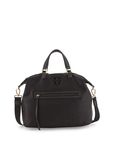 Nylon Slouchy Satchel Bag, Black