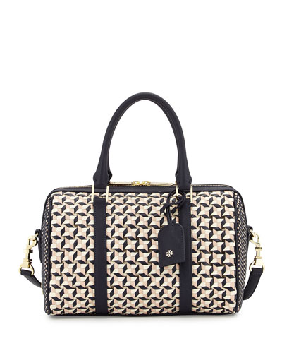 Robinson Woven Small Doreen Satchel Bag, Tory Navy Multi