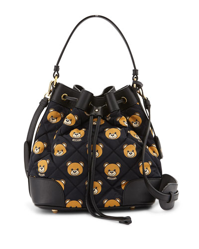 Quilted Small Teddy-Bear-Print Bucket Bag