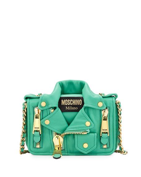 Moschino Moto Jacket Shoulder Bag, Green