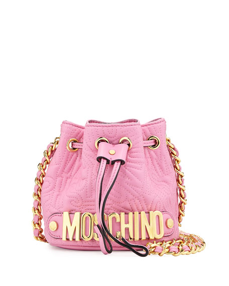 Small Drawstring Quilted Shoulder Bag, Pink