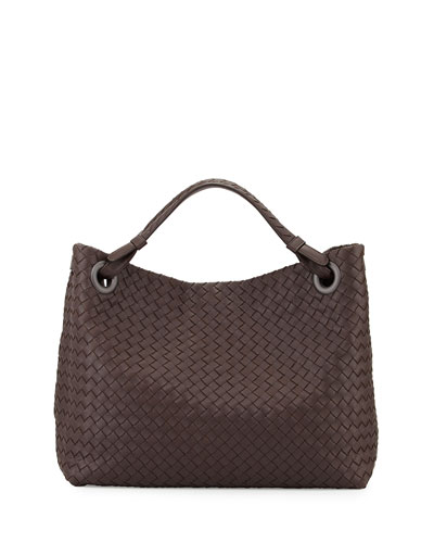 Intrecciato Medium Shoulder Bag, Dark Brown