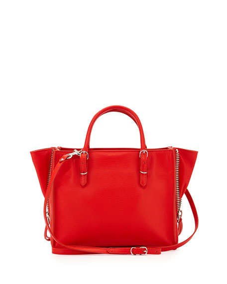 Papier A4 Mini Leather Tote Bag, Bright Red