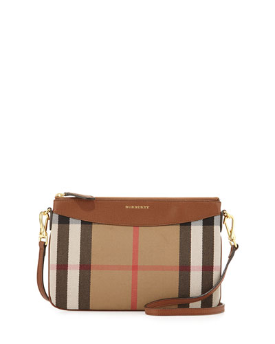 House Check Crossbody Bag, Tan