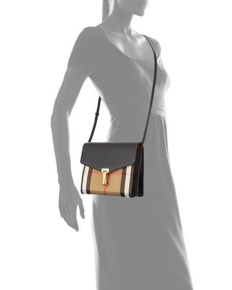 Check & Leather Small Crossbody Bag, Black