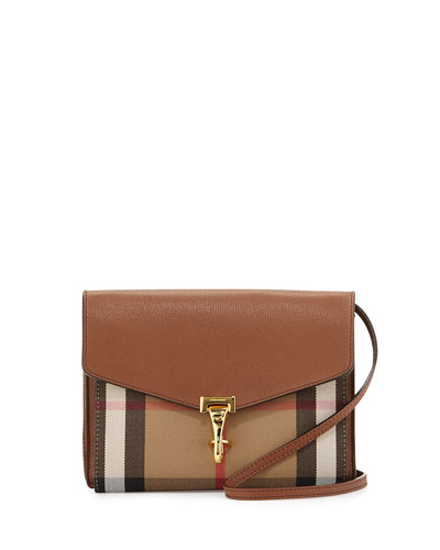 Check & Leather Small Crossbody Bag, Tan