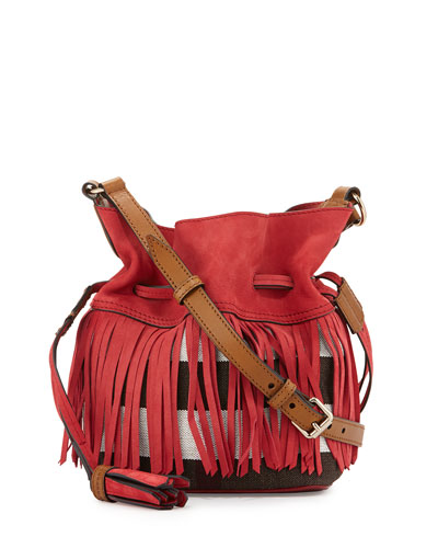 Check Canvas Fringe-Trim Bucket Bag, Windsor Red