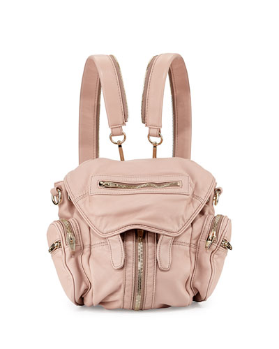 Marti Mini Zip-Trimmed Leather Backpack, Blush