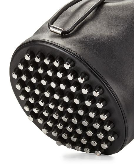Alpha Woven Napa Leather Bucket Bag, Black