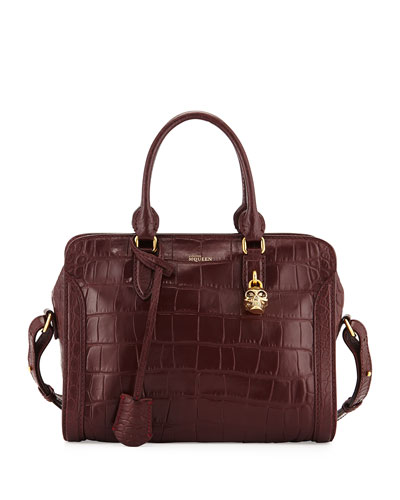 Small Skull Padlock Croc-Embossed Satchel Bag, Bordeaux
