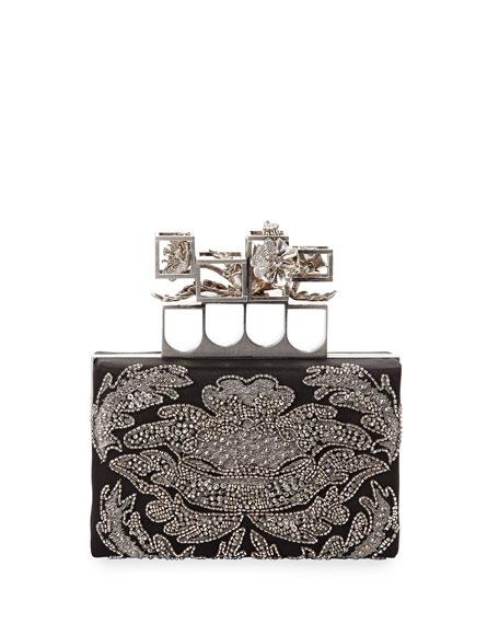 Embellished Satin Box Clutch Bag, Black