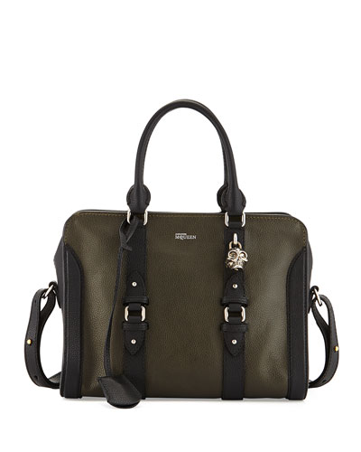 Small Padlock Zip Satchel Bag, Green/Black