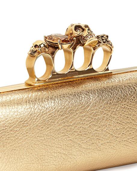 Long Knuckle-Duster Clutch Bag, Light Gold