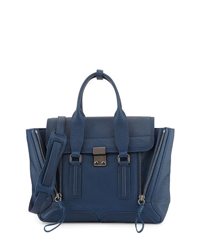 Pashli Medium Zip Satchel Bag, Lapis