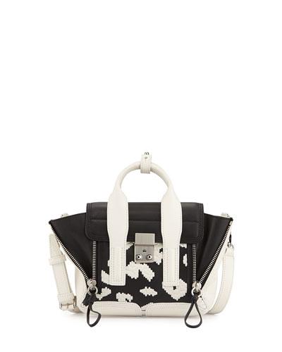 Pashli Mini Leather Satchel Bag, Black/White