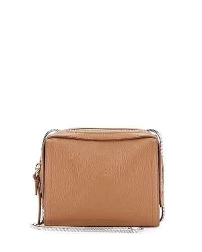 Soleil Mini Zip Crossbody Bag, Cuoio