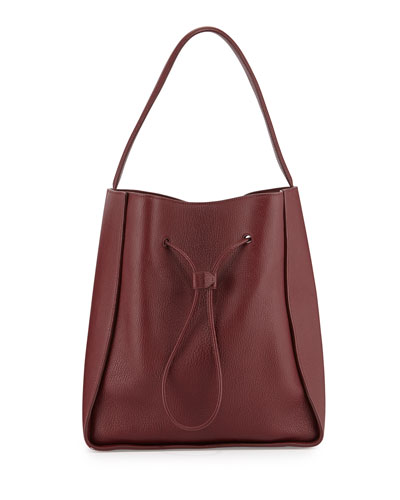 Soleil Large Drawstring Bucket Bag, Burgundy