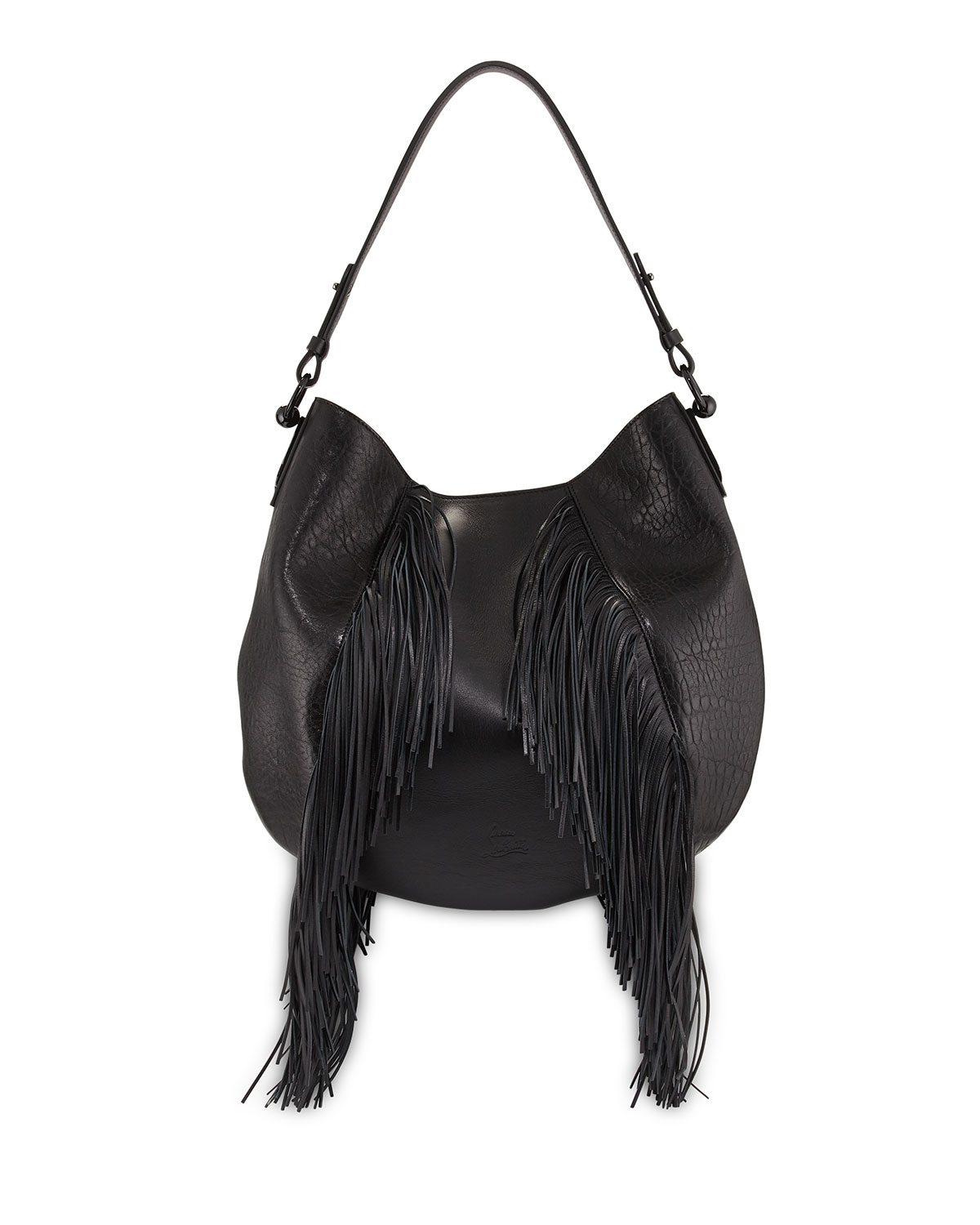 dcc09edded Christian Louboutin Lucky Fringe Leather Hobo Bag, Black | Neiman Marcus