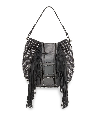 Lucky Metallic Fringed Hobo Bag, Anthracite