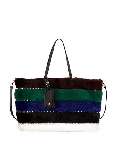 Rockstud Large Mink Fur Tote Bag, Multi