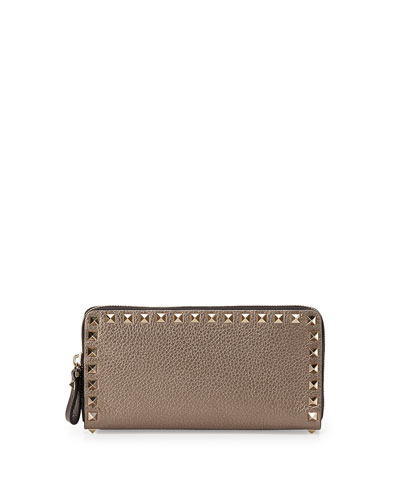Rockstud Metallic Zip-Around Wallet, Silver