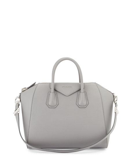Antigona Medium Sugar Satchel Bag, Pearl Gray