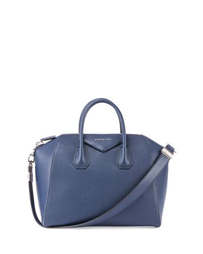 Antigona Medium Leather Satchel Bag, Dark Blue
