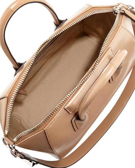 Antigona Medium Box Calf Satchel Bag, Dark Beige