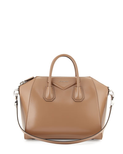 Antigona Medium Sugar Satchel Bag, Dark Beige