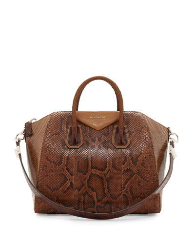 Antigona Mixed-Exotic Satchel Bag, Light Brown Multi
