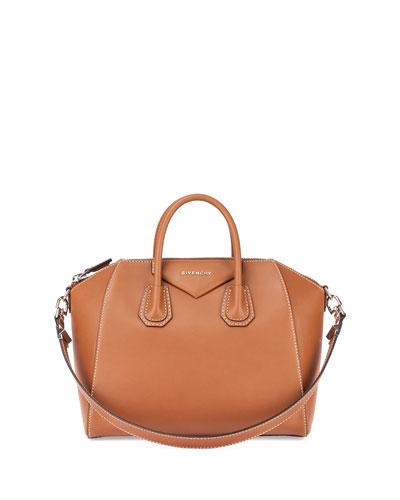 Antigona Medium Smooth Leather Satchel Bag, Camel