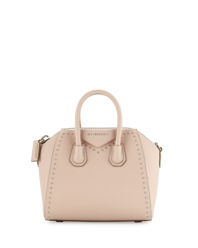 Antigona Mini Studs Couture Satchel Bag, Nude