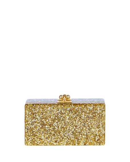 Edie Parker Jean Half-and-Half Confetti Clutch Bag, Silver/Gold